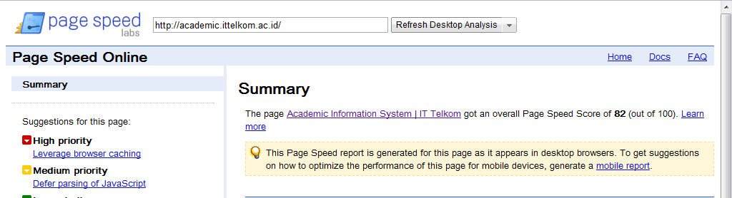 Google Page Speed OnlineTest